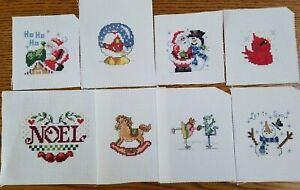 Lot of 16 Completed Christmas Cross Stitch Pieces for Ornaments or Pillows Quilt