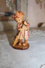 "Anri "" Sweeping "" Sarah Kay Wood Carved 4"" Figurine"