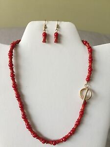 Red Coral Rose Pendant Necklace Earrings Set Gold-Filled One-Of-A-Kind