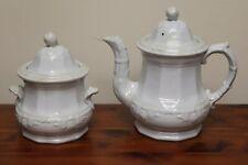 Antique White1856 J Wedgwood Ironstone Tea Pot Pitcher AND Sugar Jar Fig Design