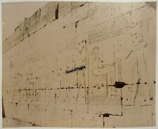 2 GRANDES PHOTOS EGYPTE albumine Zangaki mur hiéroglyphes palais AL334
