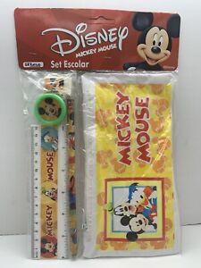 Disney Mickey Mouse School Supply Pencil Case Vinyl Zipper Pouch Bag Ruler Set