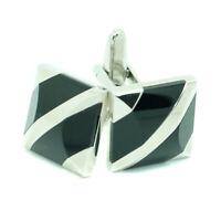 Black Silver Cufflinks Square Wedding Mens Pair Cuff Links