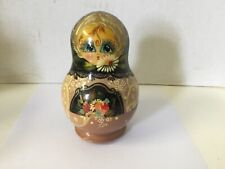 5 Nesting Dolls Russian Signed Wood Purple Black Lavendar