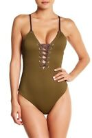 Dolce Vita Lace-Up One-Piece Swimsuit Sargeant Green M Medium