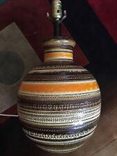 Vintage Bitossi Ceramic Pottery Lamp Earthtones Mid-Century Orange Stripe Italy