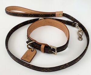 LOUIS VUITTON Collier Baxter Dog Collar MM SL0070 & Les Baxter Leash Medium dog