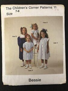 Vtg Children's Corner Pattern #11 Bessie Sz 7-8 Smocked Dresses New Factory Fold