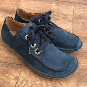 SIZE UK 3.5 CLARKS UNSTRUCTURED FUNNY DREAM BLUE LEATHER LACE UP FLAT SHOES