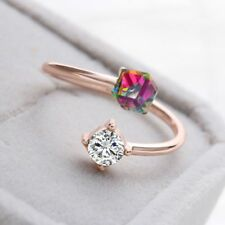 18K Rose Gold Plated Women Adjustable Jewelry Cube Zircon Crystal Finger Ring