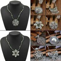 Retro Ethnic Women's Tibetan Silver Turquoise Beads String Pendant Necklace Gift