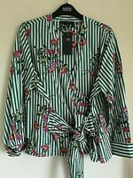 LADIES M&S SIZES 14 18 20 OR 22 GREEN MIX PURE COTTON WRAP BLOUSE TOP FREE POST
