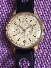 Watch Chronograph Vintage Cauny, Big Size And Original Dial. Strap Very Rare.