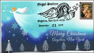 19-287, 2019, Christmas, Pictorial Postmark, Event Cover, Angelica NY, Angels