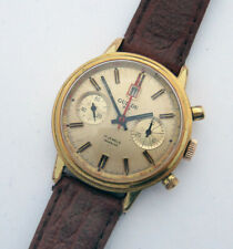 GUILDE POP Dato vintage 1960s Chronograph Landeron 187 Incabloc gold Carrera