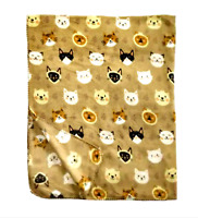 "Kitty Cat Faces on Brown Reversible Fleece Throw Blanket Super Soft 50""x60"" NWT"