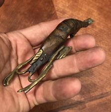 Bronze Sea Shell Shrimp Statue Figure All Metal Vintage Copper Patina