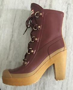 HUNTER GABBY Rain Boots Mid Calf US 10 UK 8 Burgundy 🌟 RARE 🌟 EUC Heel Lapin