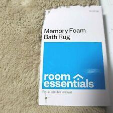 "Room Essentials Tan Memory Foam Bath Mat 17"" x 24"" Luxurious Cushioned Beige Rug"