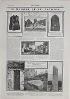 1902 Estampado Memoria De San Patricio Consecrated Pie Piedra Hierro Campana