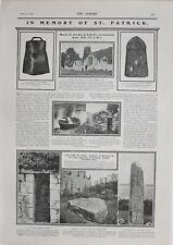 1902 Aufdruck Memory von St.Patrick Consecrated Stehend Stein Eisen Glocke Etui