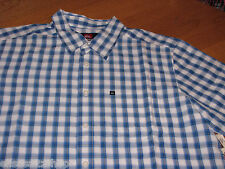 Men's Quiksilver East Bound SS button up shirt S BLV white & blue 109275