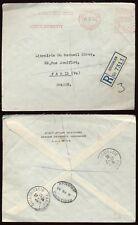 PALESTINE 1935 METER FRANKING HEBREW UNIVERSITY to FRANCE