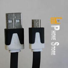 Sony Xperia Z5 Micro USB Kabel Ladekabel Flachband Reißfest Schwarz 1M