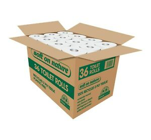36 Soft on Nature Eco Toilet Rolls, Recycled Tissue, Plastic Free, UK Made