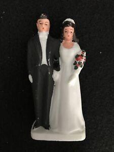 Vintage Bridal Couple Wedding Cake Topper Ceramic Bisque