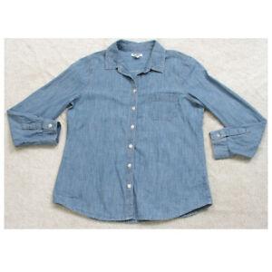 Old Navy Blue Long Sleeve Womans Button Up Denim Jeans Dress Shirt Top Medium R7