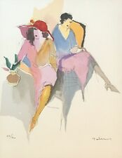 """""""Two Women"""" By ITZCHAK TARKAY Color Serigraph Hand Signed Limited To 300"""