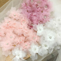 Exquisite Chiffon Flower Appliques Diamante Crystal lace Patch pack of 10
