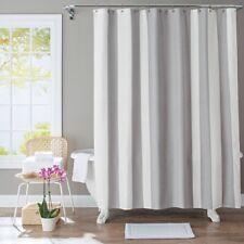 Better Homes & Gardens Gray White Waffle Stripe Fabric Shower Curtain