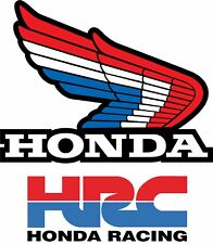 Honda Vintage Retro Wing Decal, Motocross Sticker red white blue HRC AHRMA, PAIR