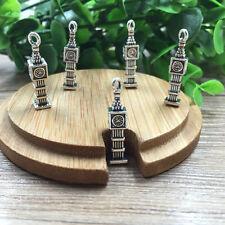 BIG BEN Tibetan Silver Bead charms Pendants fit bracelet 10pcs 22x4 mm