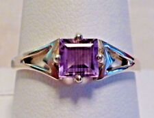 1.9 grams 925 Silver & Amethyst Ring Size 9 Handcrafted Artisan Emerald Cut