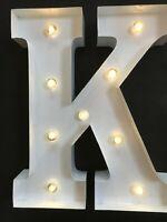 LED LIGHT CARNIVAL WHITE WEDDING CELEBRATION LETTER K - ALL METAL LARGE 33 CM