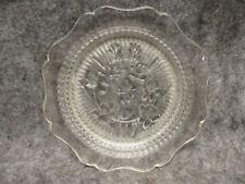 "Jeanette Glass Iris & Herringbone Clear Glass Saucer 5-3/4"" VINTAGE"