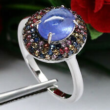 NATURAL 7 X 9 mm. CABOCHON BLUE TANZANITE & FANCY CLR SAPPHIRE RING 925 SILVER