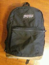 Jansport LEATHER BOTTOM USA backpack Black  book bag hiking day pack