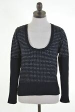 REPLAY Womens Crew Neck Jumper Sweater Size 6 XS Black Wool  EP06