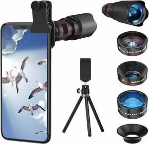 Selvim Phone Camera Lens Phone Lens Kit 4 in 1 Compatible with iOS and Android
