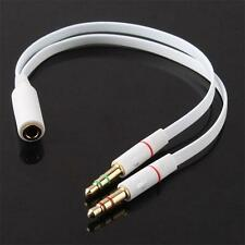 3.5mm AUX Audio Mic Headphone Splitter Cable Female to 2 Male Earphone Adapter