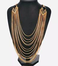 Boho Tribal Bib Drop Statement Gold Tone Necklace Black Chain Link