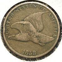 1858 1C Flying Eagle Cent, Large Letters (56796)