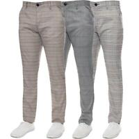 Mens Slim Fit Checked Trousers Formal Smart Casual Work Office Check Dress Pants