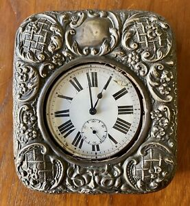 Antique Silver Goliath Clock Watch Bedside Edwardian Fob Stand 1885