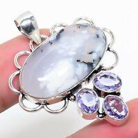 "Dendrite Opal Kunzite Gemstone Handmade Ethnic Jewelry Pendant 1.77"""