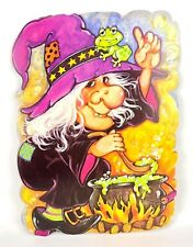 Vtg 80s 90s Halloween Cardboard Paper Wall Decoration Witch Frog Brew Cauldron